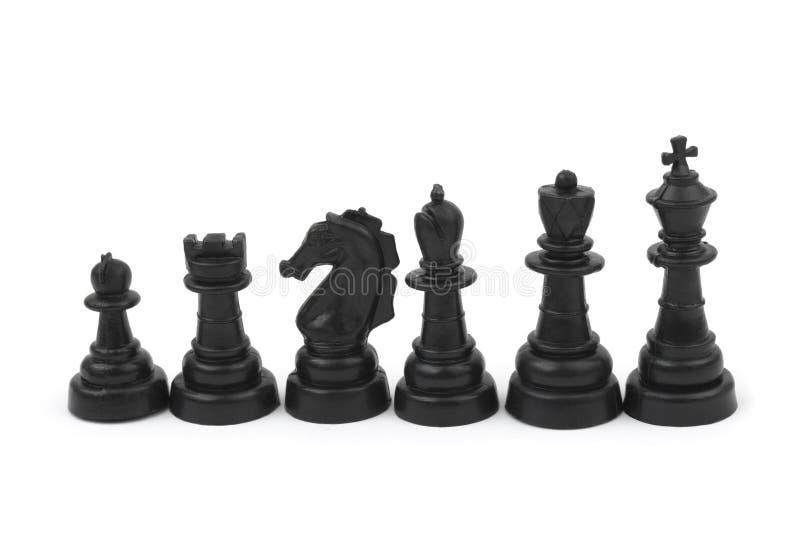 Pièces d'échecs noires image libre de droits