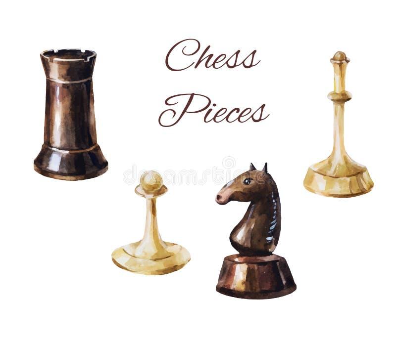 Pièces d'échecs sur le fond blanc Éléments de jeu de vintage illustration libre de droits