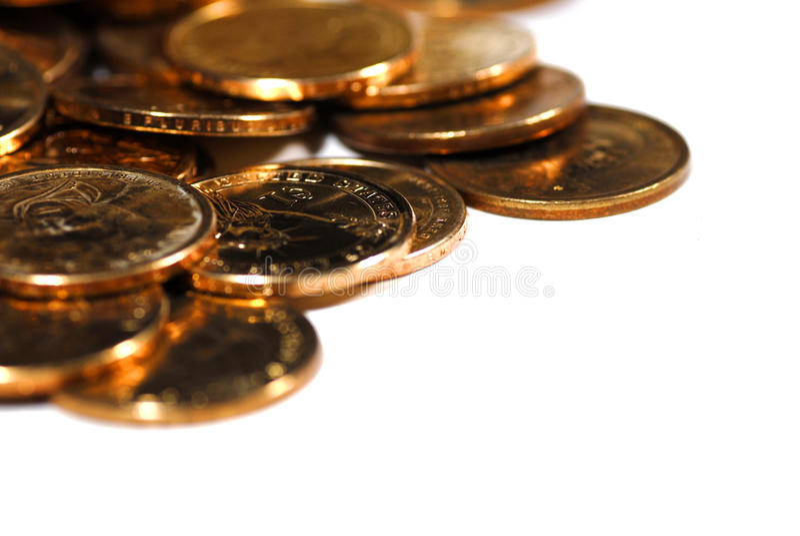 Pièces d'or photographie stock libre de droits