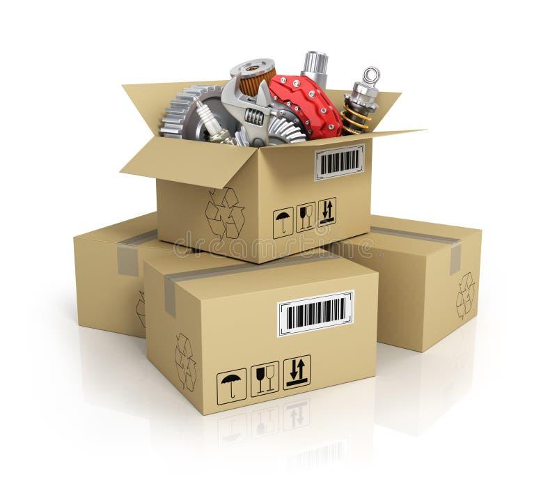 Pièces d'auto dans le cardbox Boutique des véhicules à moteur de panier St de pièces d'auto illustration stock