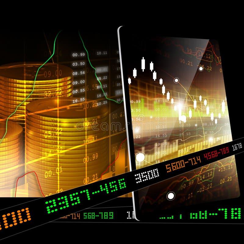 Pièces d'or avec des données financières de marché boursier illustration de vecteur