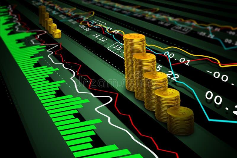 Pièces d'or avec des données financières de marché boursier illustration libre de droits