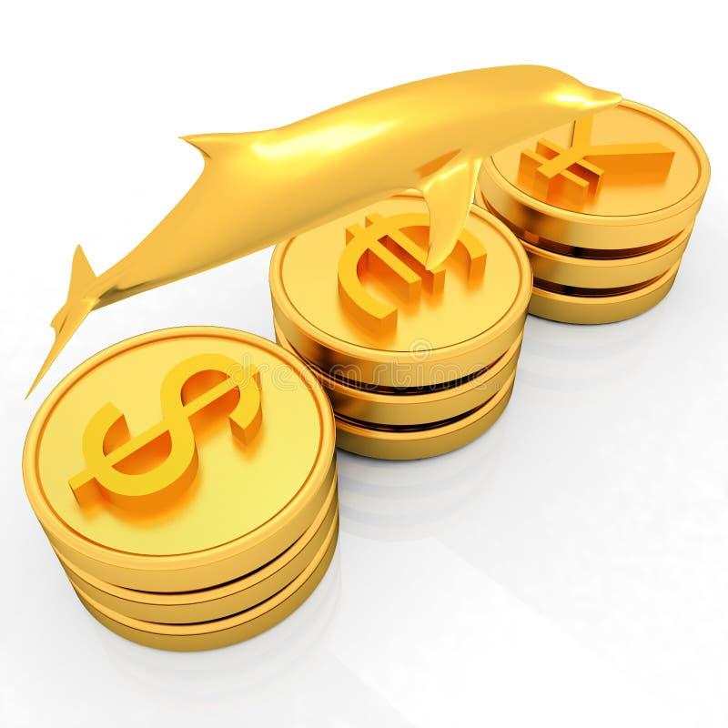 Pièces d'or avec 3 devises importantes avec le dauphin d'or illustration de vecteur