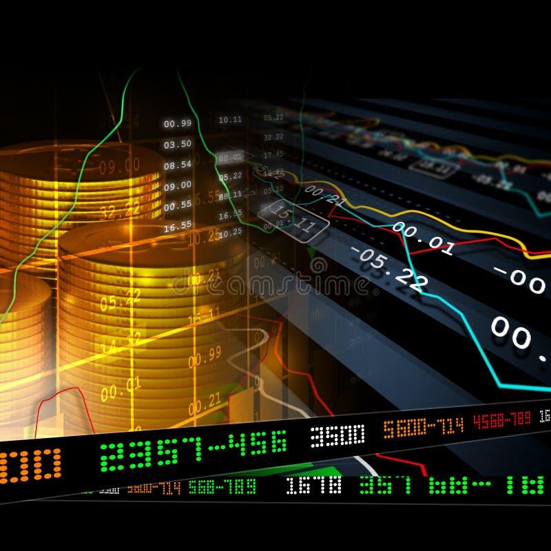 Pièces d'or avec le diagramme courant financier illustration libre de droits