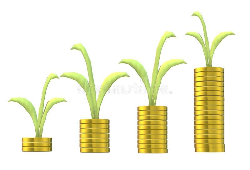 Pièces d'or croissantes d'argent empilées avec des usines s'élevant sur elles illustration stock