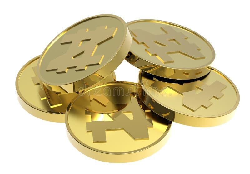 Pièces d'or d'isolement sur un fond blanc. illustration de vecteur