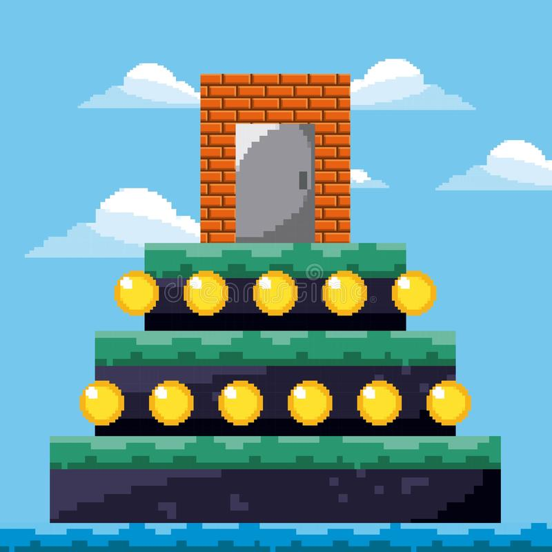 Pièces d'or de trésor de porte de niveau de jeu de pixel illustration libre de droits