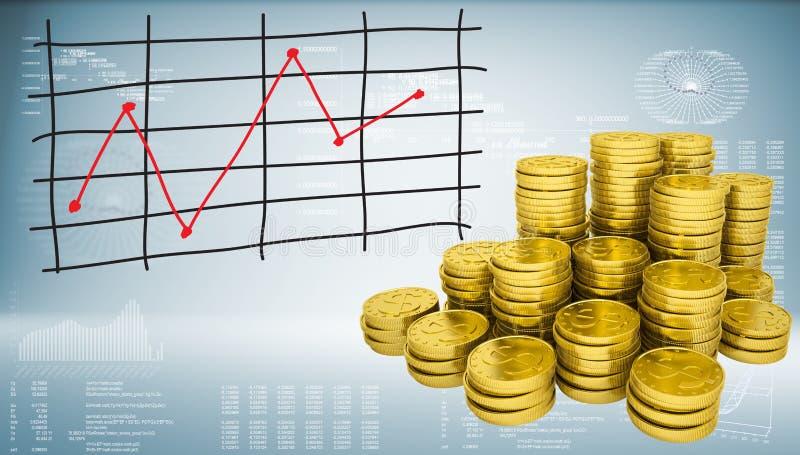Pièces d'or et graphique des changements de prix illustration libre de droits