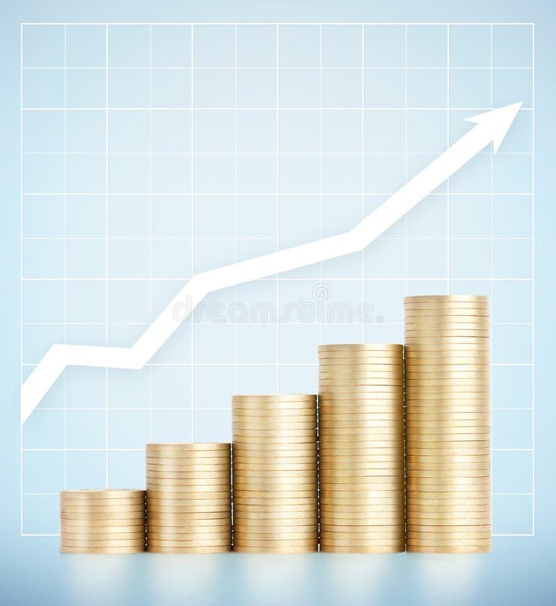 Pièces d'or se tenant sur la croissance verticalement des colonnes image libre de droits