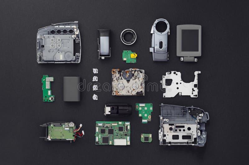 Pièces d'une mini caméra vidéo de DV images libres de droits