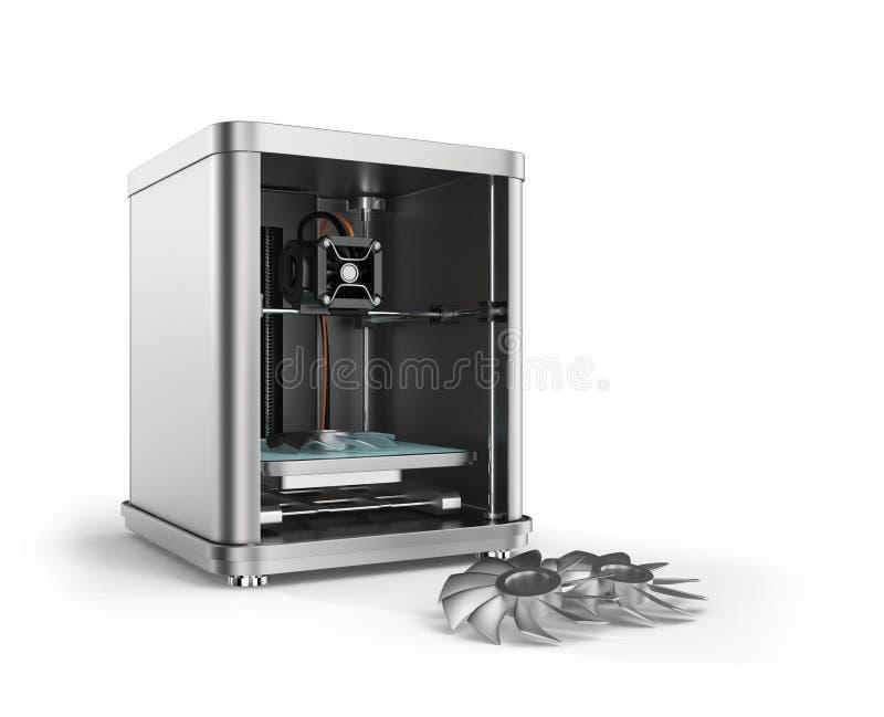 pièces de fan en métal d'impression de l'imprimante 3D illustration de vecteur