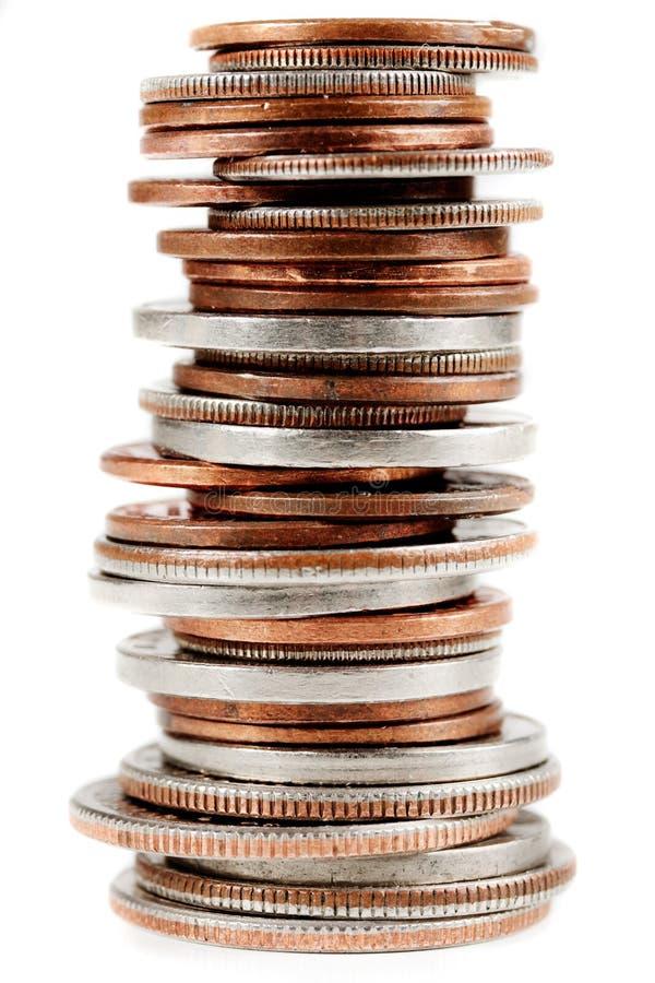 Pièces de monnaie américaines sur le blanc image libre de droits