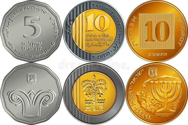 Pièces de monnaie argentées israéliennes réglées de shekel d'argent illustration libre de droits