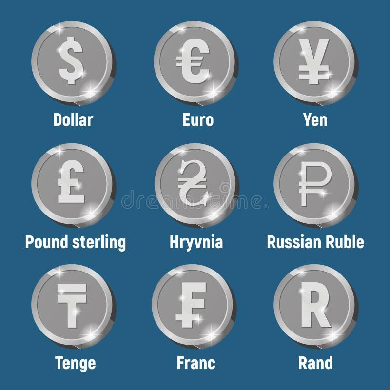 Pièces de monnaie argentées de logo de devise photographie stock