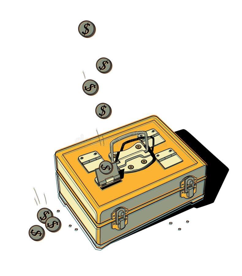 Pièces de monnaie avec une chute de symbole dollar dans un coffre-fort portatif en métal Fonds de part d'intervalle illustration stock