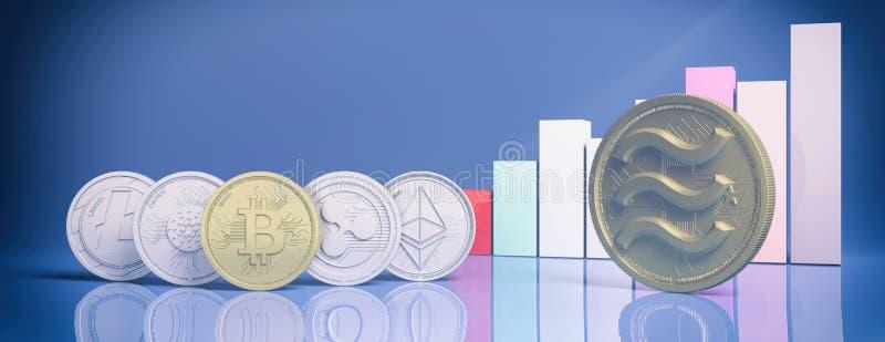 Pièces de monnaie de Balance et de cryptocurrency d'or, histogramme croissant, fond bleu de couleur illustration 3D illustration de vecteur