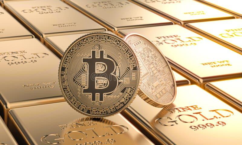 Pièces de monnaie de bitcoin d'or étendues sur des lingots concept de cryptocurrency et d'argent illustration de vecteur