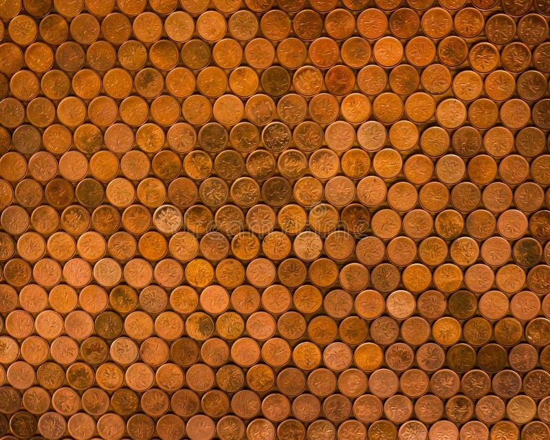 Pièces de monnaie canadiennes de penny photographie stock