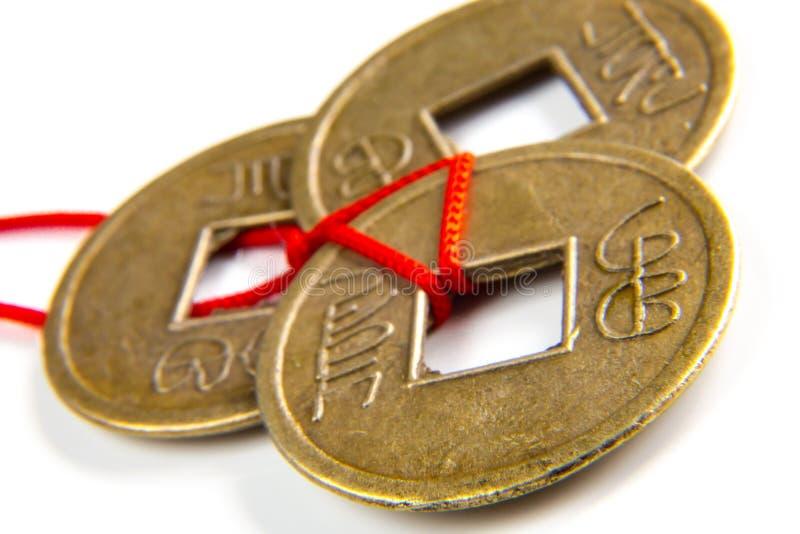 Pièces de monnaie chanceuses de Feng Shui images libres de droits