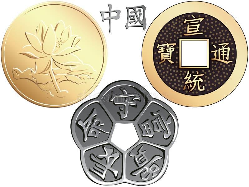 Pièces de monnaie chinoises réglées de vecteur illustration de vecteur