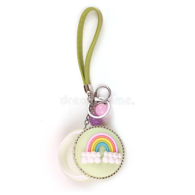 Pièces de monnaie colorées cas et anneau de clés images libres de droits