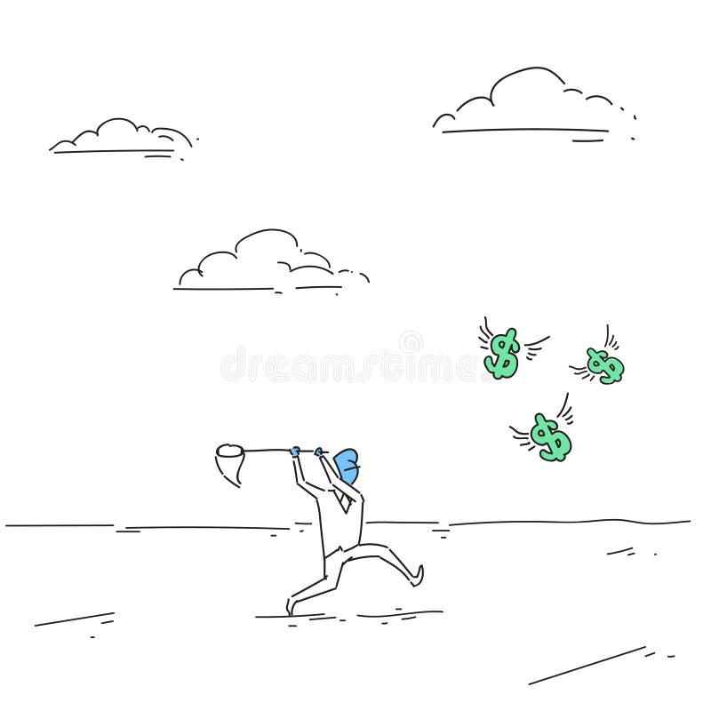 Pièces de monnaie contagieuses d'homme d'affaires avec le concept de succès de finances de filet de papillon illustration libre de droits