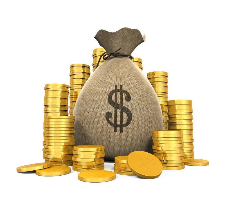 Pièces de monnaie d'argent dans le sac illustration de vecteur