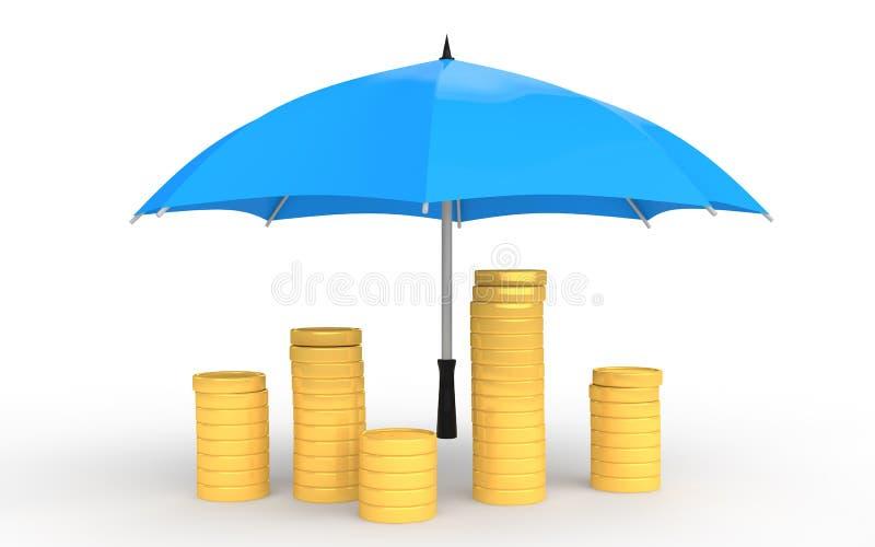 pièces de monnaie 3d d'or sous le parapluie illustration stock