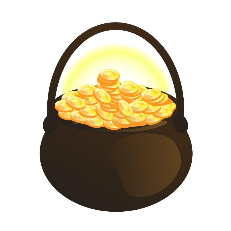 Pièces de monnaie d'or dans le vecteur de pot illustration libre de droits