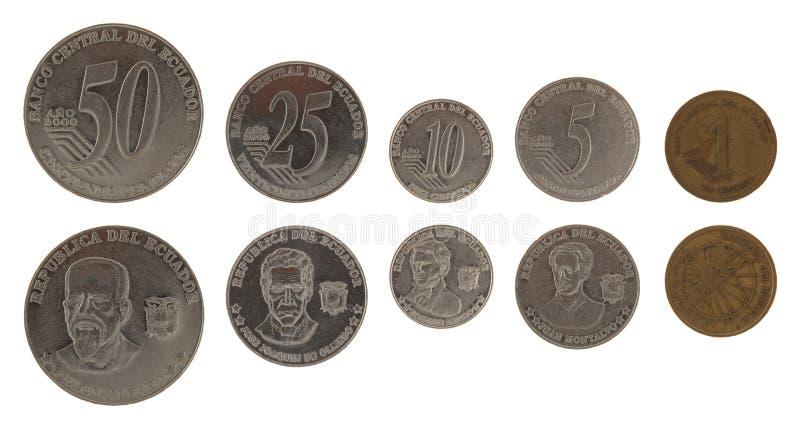 Pièces de monnaie d'Ecuadorian d'isolement sur le blanc image stock