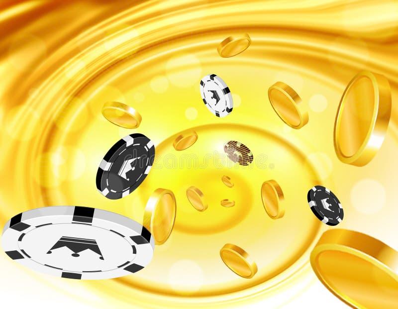 Pièces de monnaie d'or et pièces de monnaie de casino volant  illustration stock