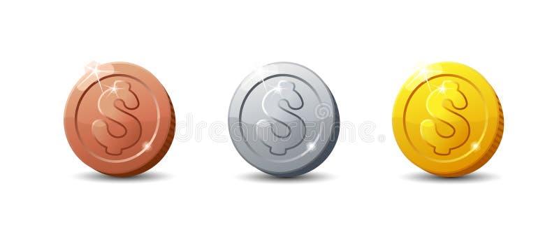 Pièces de monnaie d'icônes Ensemble de pièce de monnaie de bande dessinée pour le Web, le jeu ou l'interface illustration de vecteur