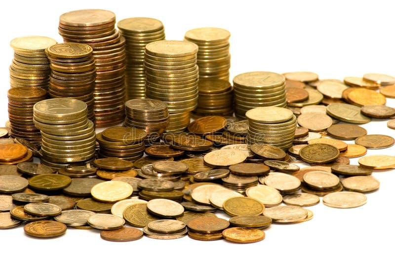 Pièces de monnaie d'isolement images stock
