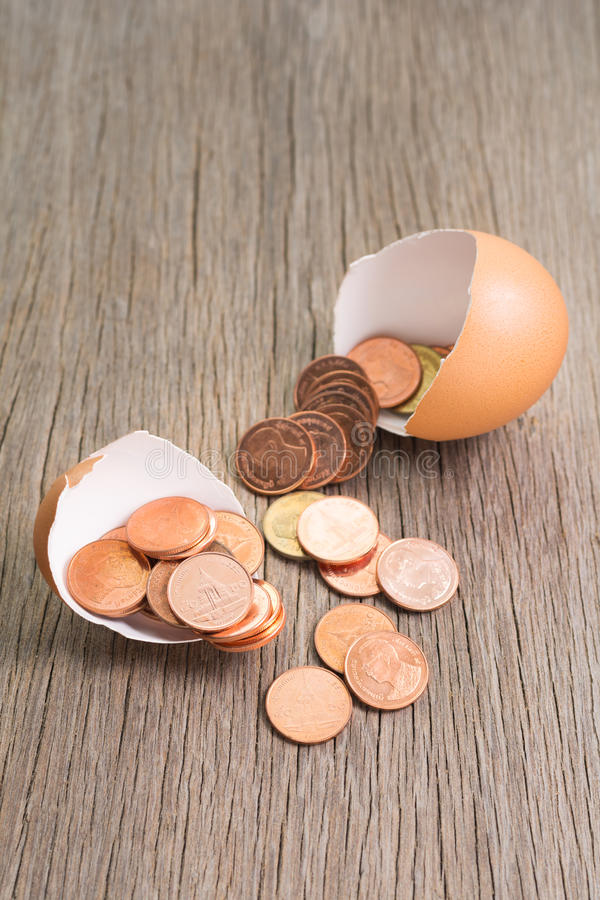 Pièces de monnaie dans l'oeuf image libre de droits