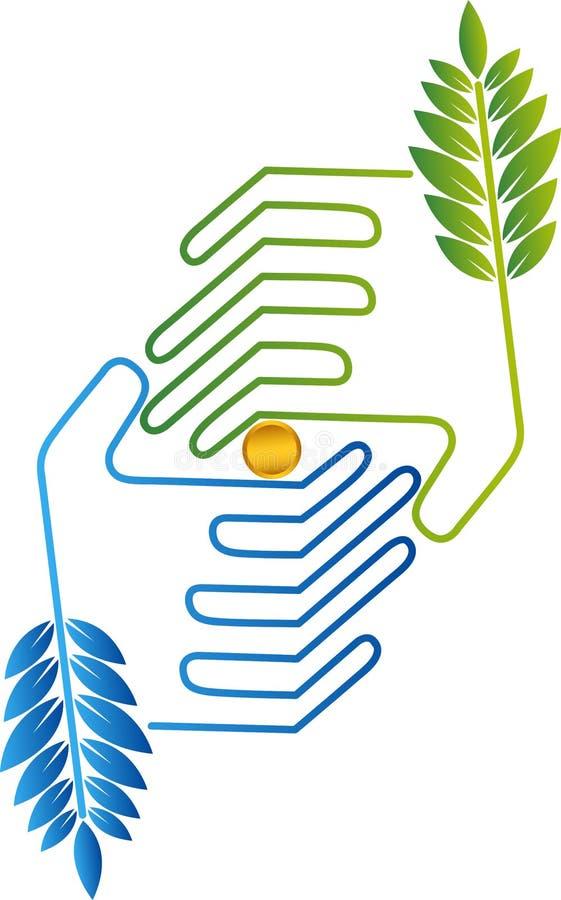 Pièces de monnaie dans le logo de mains illustration de vecteur