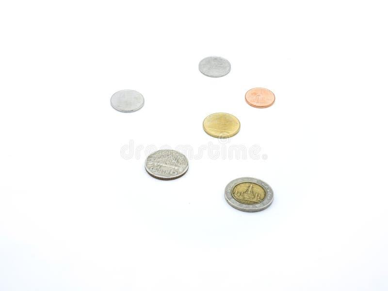 Pièces de monnaie de baht de la Thaïlande photo stock