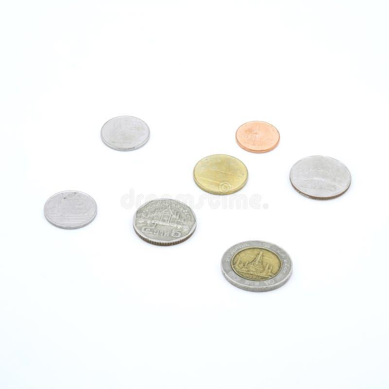 Pièces de monnaie de baht de la Thaïlande photos stock