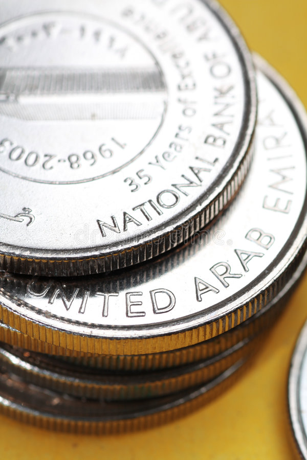 Pièces de monnaie de devise des Emirats Arabes Unis images libres de droits