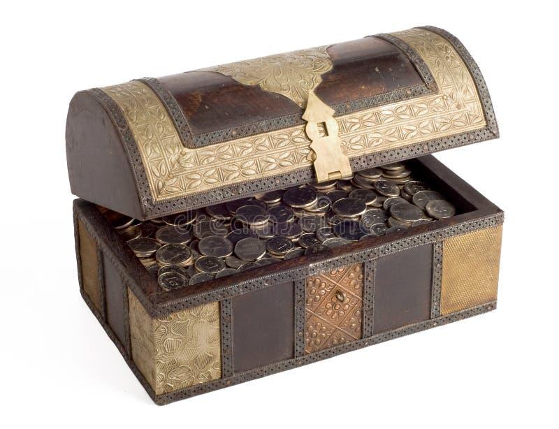 Pièces de monnaie de dirham des EAU dans un trunk_side photo stock