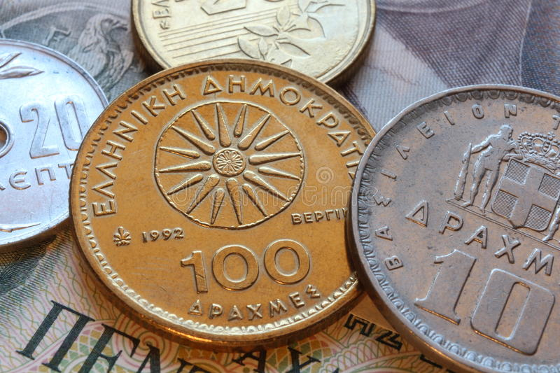 Pièces de monnaie de drachme de la Grèce images libres de droits