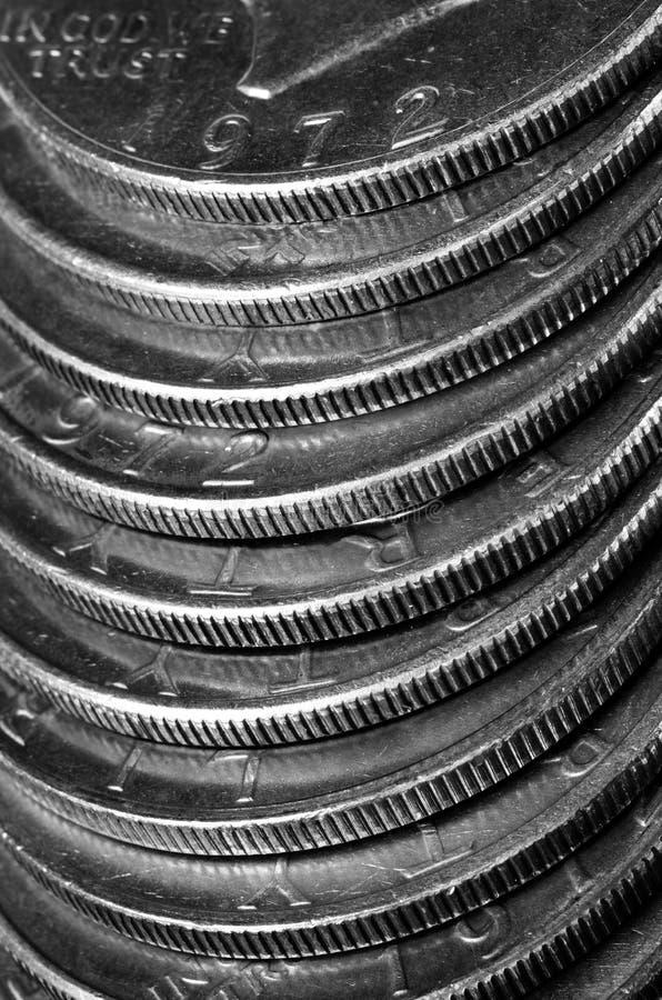 Pièces de monnaie de l'argent américain argenté image stock