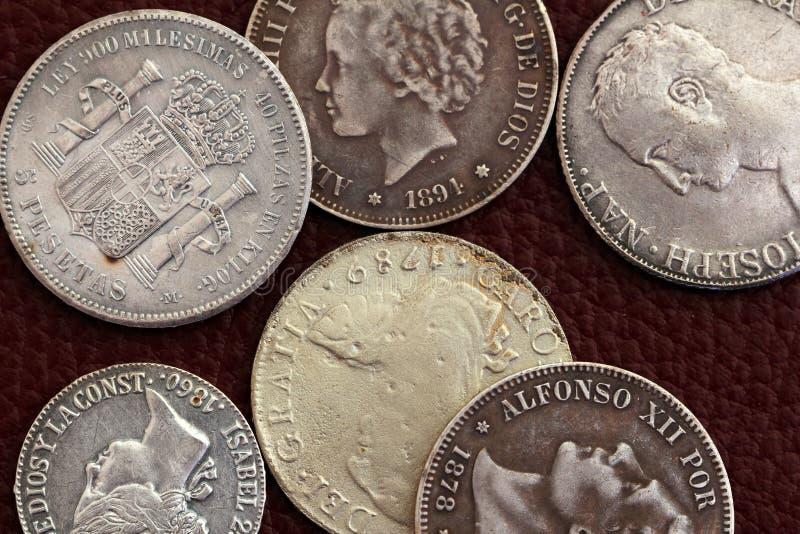 Pièces de monnaie de l'Espagne de dix-huitième et 19ème siècle vieilles photos libres de droits