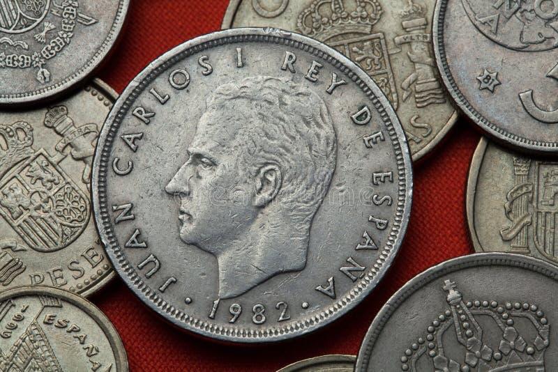 Pièces de monnaie de l'Espagne Le Roi Juan Carlos I photos stock