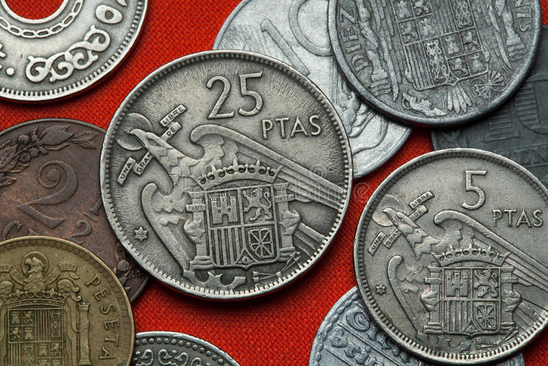 Pièces de monnaie de l'Espagne sous Franco images libres de droits