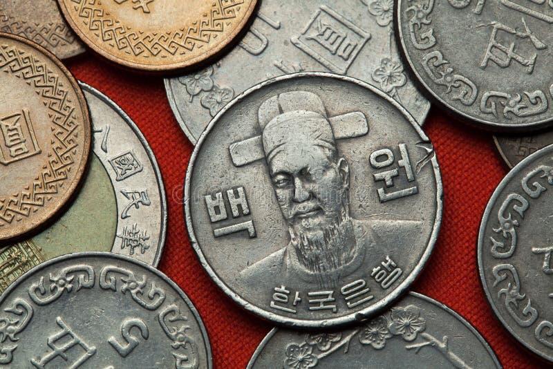 Pièces de monnaie de la Corée du Sud Commandant naval coréen Yi Sun Sin photos stock