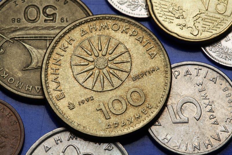 Pièces de monnaie de la Grèce images libres de droits