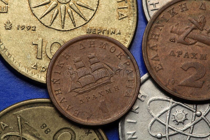 Pièces de monnaie de la Grèce photos libres de droits