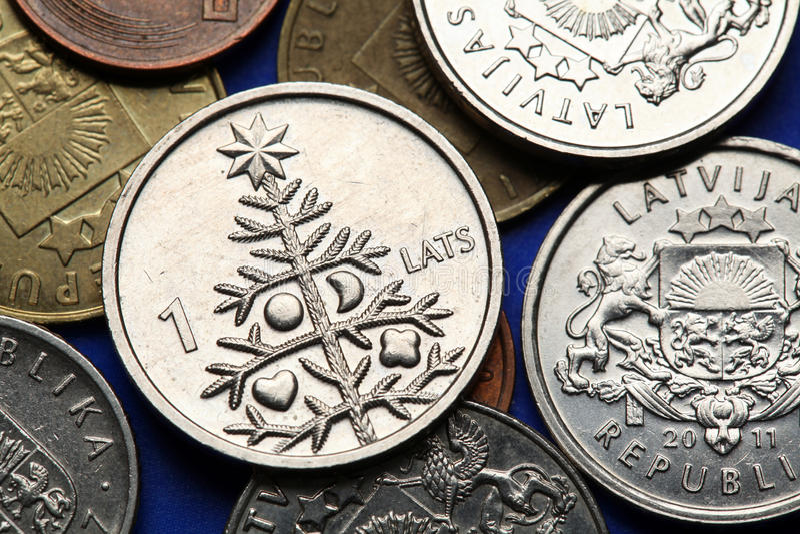 Pièces de monnaie de la Lettonie image stock