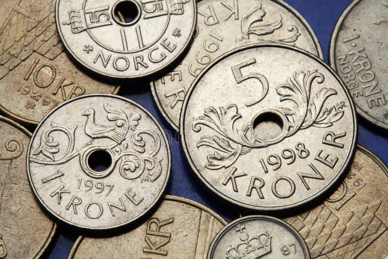 Pièces de monnaie de la Norvège photo stock