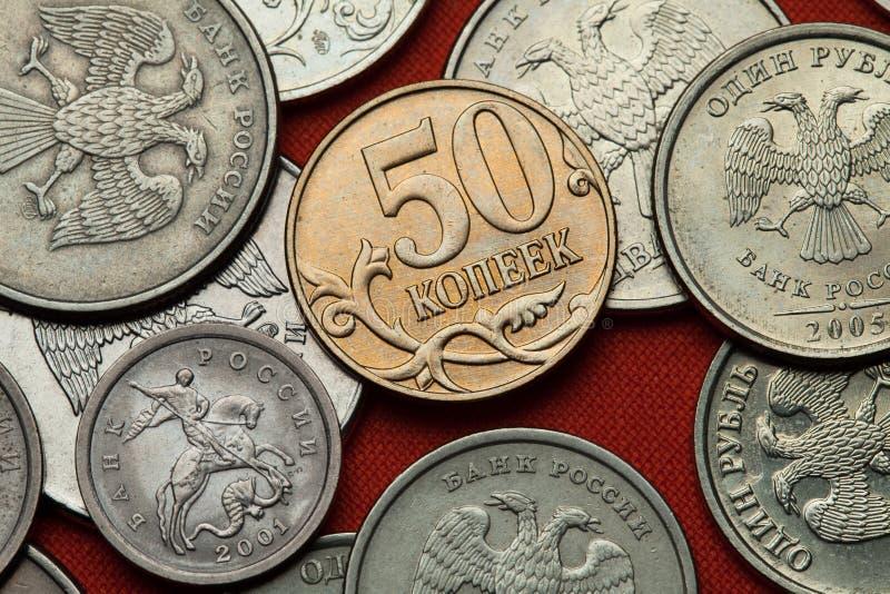 Pièces de monnaie de la Russie image libre de droits